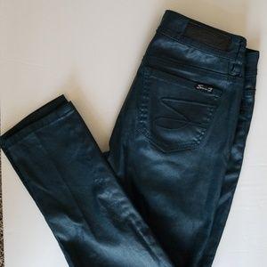 Seven 7 Metallic Green Skinny Jeans Size 6 Petite